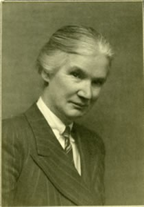 A black and white photograph of Helen Mackay
