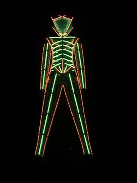 The neon-tubed Man at the 1999 event Neonman2.jpg