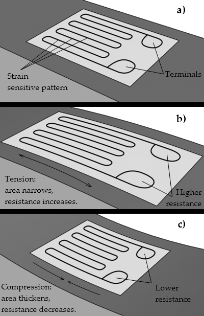 Visualization of the working concept behind the strain gauge on a beam under exaggerated bending.