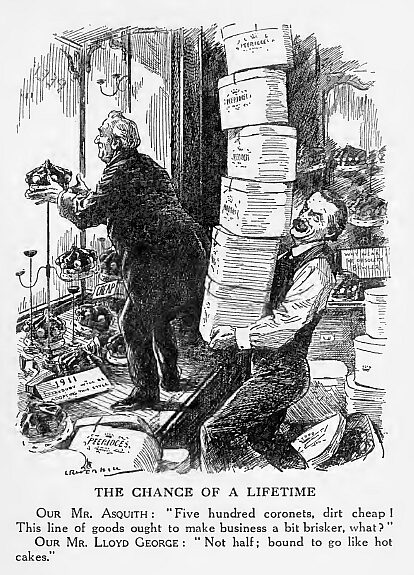 Punch 1911 cartoon shows Asquith and Lloyd George preparing coronets for 500 new peers to threaten takeover of House of Lords 1911-New-Perrs-UK-Punch.jpg