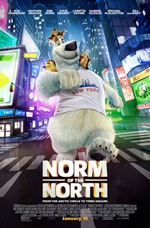 "An anthropomorphic polar bear, walking in the city's streets, with three little lemmings over his shoulders and head, with a white t-shirt of ""New York"" and the film's title, slogan and billing underneath him."