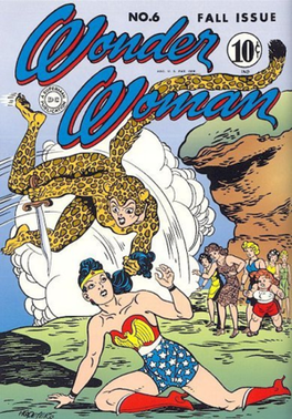 Cover to Wonder Woman #6, the Cheetah's first appearance. Art by Harry G. Peter.