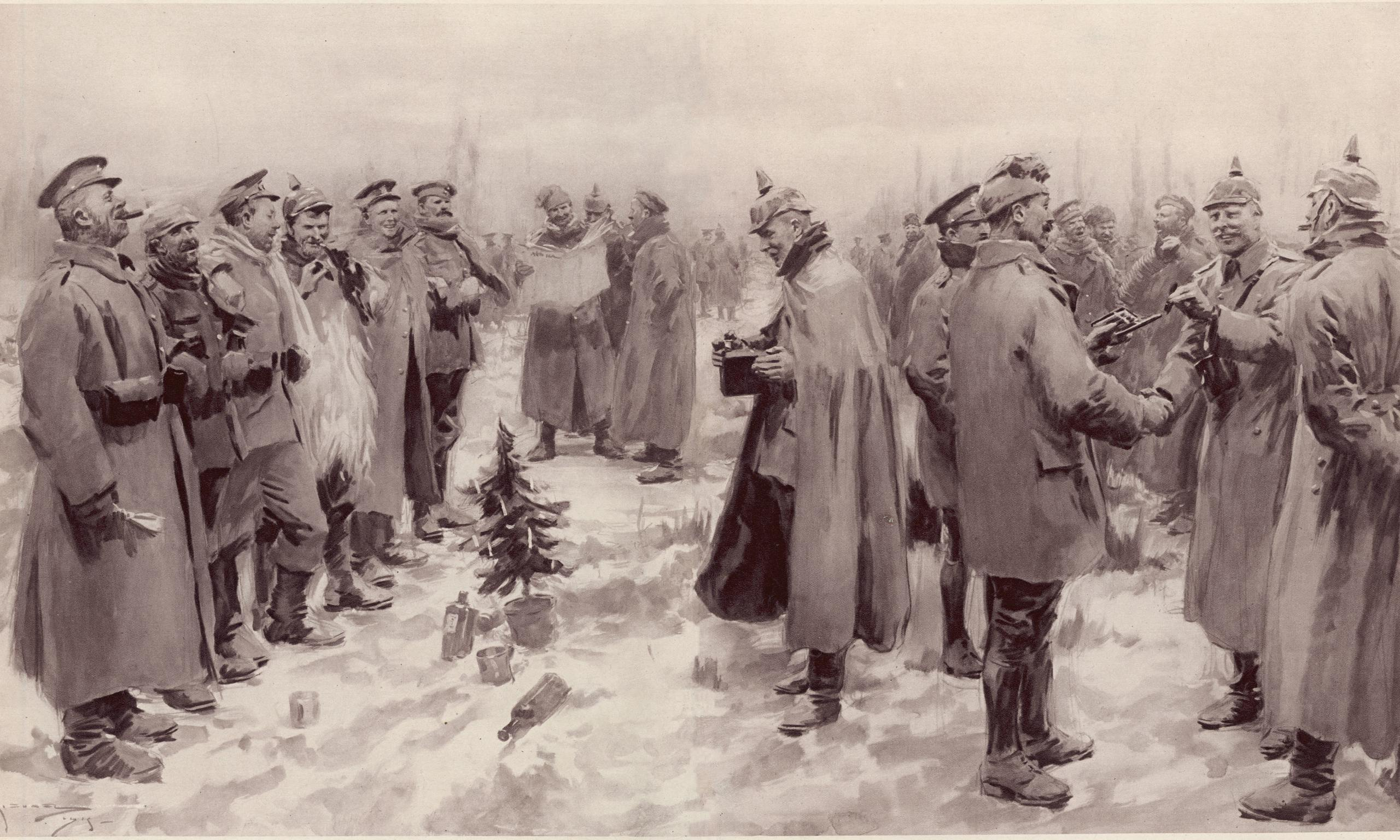 Illustration from the 1915 London News: Allied and German soldiers fraternizing in no-man's-land.