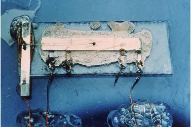 Jack Kilby's original integrated circuit Kilby solid circuit.jpg