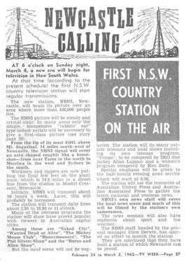 TV Week reporting NBN as the first regional station in New South Wales in 1962.