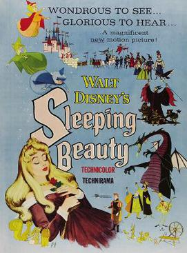 The poster of the 1959 Walt Disney film, the last Disney adaptation of a fairy tale for some years because of its initial mixed critical reception and underperformance at the box office. Sleeping beauty disney.jpg