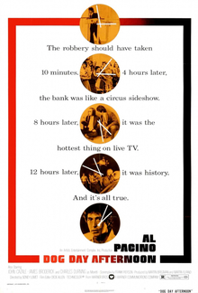 "Movie poster includes five circles spaced out vertically throughout the image with various screenshots included. Interwoven throughout the circles is text reading ""The robbery should have taken 10 minutes. 4 hours later, the bank was like a circus sideshow. 8 hours later, it was the hottest thing on live TV. 12 hours later, it was history. And it's all true."" Text at the bottom of the image includes the title and credits."