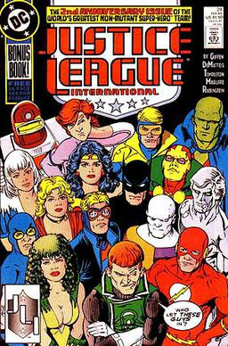 Copertina di Justice League International vol. 1 n. 24 (Febbraio 1989). Disegni e chine di Kevin Maguire e Joe Rubinstein.