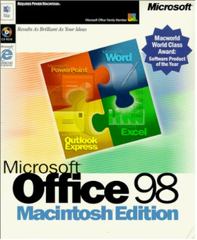 The box for Microsoft Office 98 Macintosh Edition
