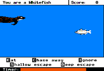 A screenshot from the Apple II version of the Odell Lake game.