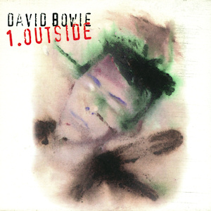 Cover of David Bowie's album Outside, which is said to be cyberpunk music.