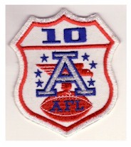 Ten-year AFL patch worn by the Chiefs in Super Bowl IV