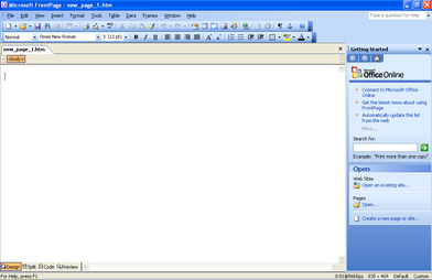 Microsoft office frontpage 2003.