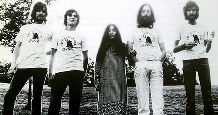 Plastic Ono Band, 1969. L–R: Klaus Voormann, Alan White, Yoko Ono, John Lennon and Eric Clapton
