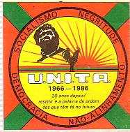 A UNITA sticker, issued for its 20th anniversary celebrations in 1986. The sticker carries the UNITA symbol and the slogan 'Socialism – Negritude – Democracy – Non-Alignment' Unitaprop.jpg