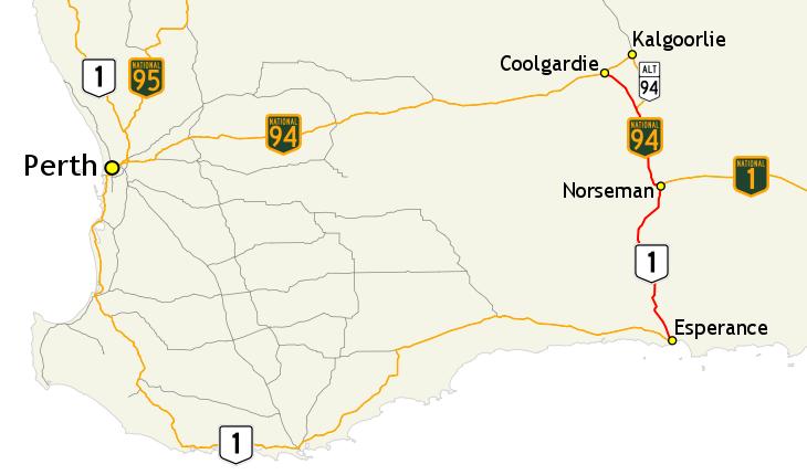 Australia Map Kalgoorlie.Coolgardie Esperance Highway Wikipedia