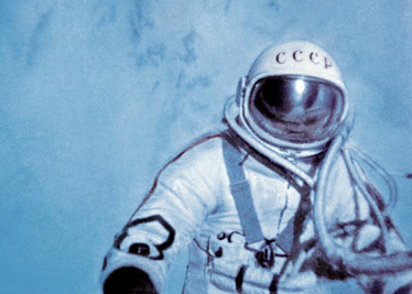 Alexei Leonov performs the first spacewalk during Voskhod 2 FirstSpaceWalk.png