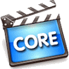 "Film sound-synchronization clapper board with text ""Core"""