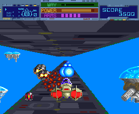 The player blasting away at enemies in the game's first level. Thunder Ceptor screenshot.png