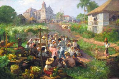 Antipolo by Fernando Amorsolo shows a town fiesta, one of the legacy of the Spanish, being celebrated by Filipinos. - Philippines