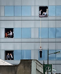 John Kirk-Anderson's photo of a person being abseiled from the Forsyth Barr Building became one of the enduring photos of the 2011 Christchurch earthquake