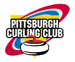 Current logo & pin design of the Pittsburgh Curling Club