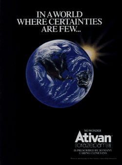 "1987 Ativan advertisement. ""In a world wh..."