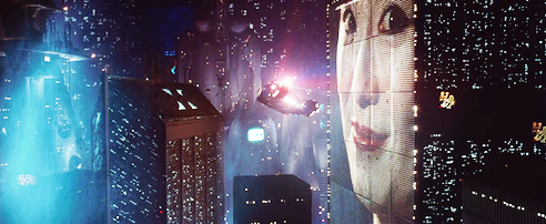 Screenshot from the cyberpunk movie Blade Runner.