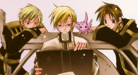 From left to right: Mikage, Hakuren, Mikage's reincarnated self (Burupya), and Teito