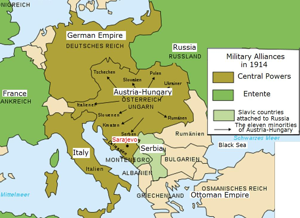 world war 1 map europe 1914. World War I Map of Europe.