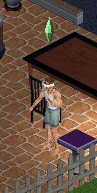 A Sim using a virtual reality simulator