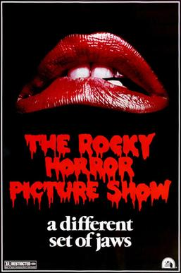 "The iconic ""Lips"" poster, a parody of the poster for the 1975 film Jaws The Rocky Horror Picture Show.jpg"