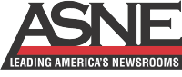 """ASNE"" in a Serif font with the text ""LEADING AMERICA'S NEWSROOMS"" underneath"