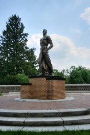 """A 2005 bronze replica of """"The Spartan"""" (nicknamed """"Sparty"""") replaces Leonard D. Jungwirth's modernist original."""