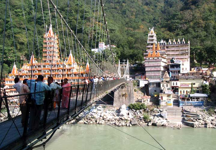 Ram Jhula over the Ganges in Rishikesh