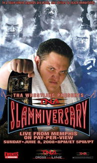"A poster featuring a red logo which says ""Slammiversary"" with various adult males standing in the background, which is set to resemble a cloudy sky, posing."