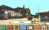 A screenshot from The Amazon Trail game (DOS version) showing a photographic scene in the city of Belém, Brazil.