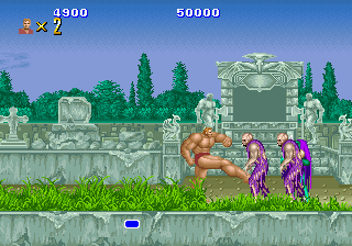 A single player fighting against the undead in the first level of the arcade version Altbeastplay.png