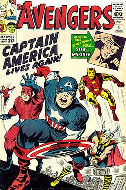 The Avengers #4 (March 1964), with (from left to right), the Wasp, Giant-Man, Captain America, Iron Man, Thor and (inset) the Sub-Mariner. Cover art by Jack Kirby and George Roussos.