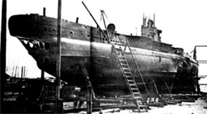 UB-45 at Varna in 1936. The mine damage that sank the U-boat during World War I is visible at right.
