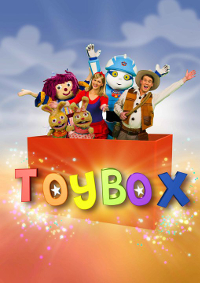 "A red box containing a man in a cowboy costume, a woman wearing a red and blue dress, a blue robot, a ragdoll and two toy rabbits. In front of the box is the word ""Toybox"" in colourful letters and surrounded by a sparkling effect."