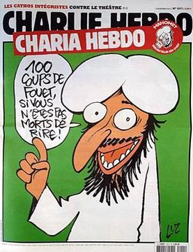 Cover of Charlie Hebdo, newspaper in France. Speech bubble reads