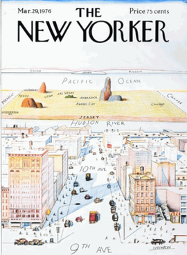 "Saul Steinberg, ""View of the World from 9th Avenue"", _The New Yorker_, 29 March 1976"