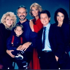 Cast of Family Ties (from left): Tina Yothers, Brian Bonsall (added in season five), Michael Gross, Meredith Baxter, Michael J. Fox, and Justine Bateman.