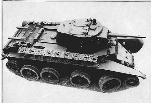 BT-7M without tracks, in wheeled mode, with the tracks stored on the hull - Credits: Wikimedia Commons