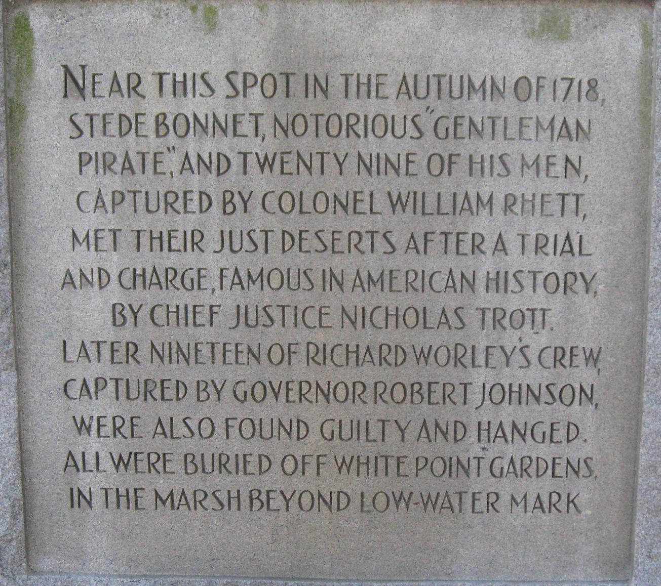 Battle of Cape Fear River[edit]. Monument to Stede Bonnet
