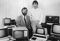 Historic Microsoft photo of Paul Allen and Bil...