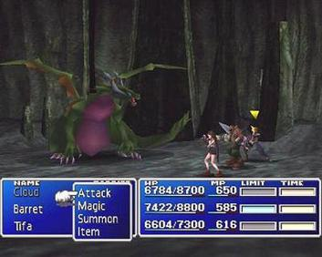 A battle scene with Cloud, Barret, and Tifa facing a dragon. In this given moment, the player must choose a command for Cloud to perform. FFVIIbattlexample.jpg