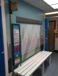 A fake bus stop at Southend Hospital, UK.