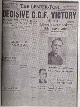 The Leader-Post announces the CCF victory, 1944 Leader Post Cover.jpg